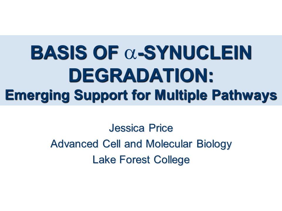 BASIS OF -SYNUCLEIN DEGRADATION: Emerging Support for Multiple Pathways BASIS OF  -SYNUCLEIN DEGRADATION: Emerging Support for Multiple Pathways Jess