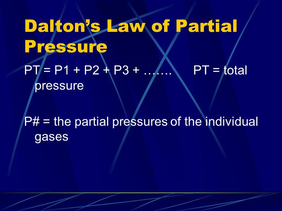 Dalton's Law of Partial Pressure PT = P1 + P2 + P3 + …….PT = total pressure P# = the partial pressures of the individual gases