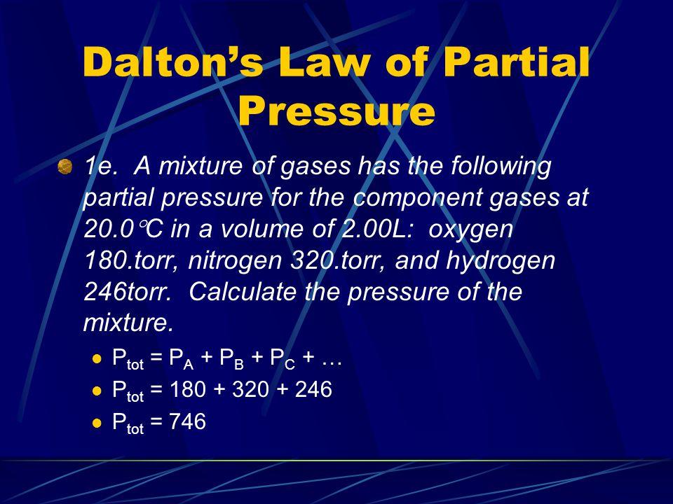 Dalton's Law of Partial Pressure 1e.