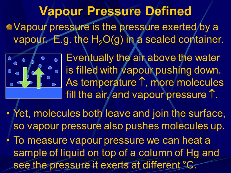 Vapour Pressure Defined Vapour pressure is the pressure exerted by a vapour.
