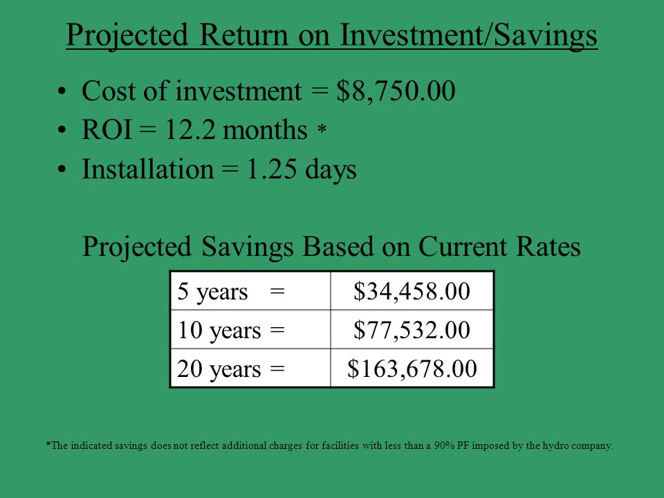 Projected Return on Investment/Savings Cost of investment = $8,750.00 ROI = 12.2 months * Installation = 1.25 days Projected Savings Based on Current