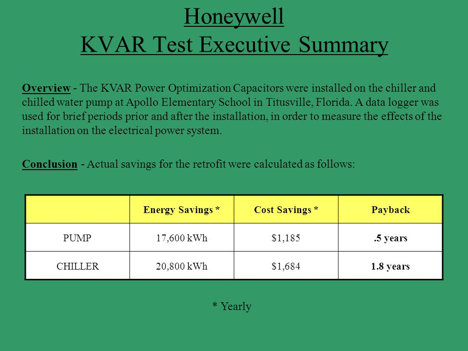 Honeywell KVAR Test Executive Summary Overview - The KVAR Power Optimization Capacitors were installed on the chiller and chilled water pump at Apollo