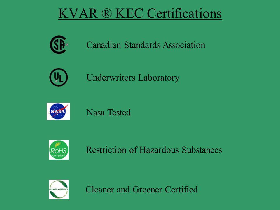 KVAR ® KEC Certifications Canadian Standards Association Underwriters Laboratory Nasa Tested Restriction of Hazardous Substances Cleaner and Greener C