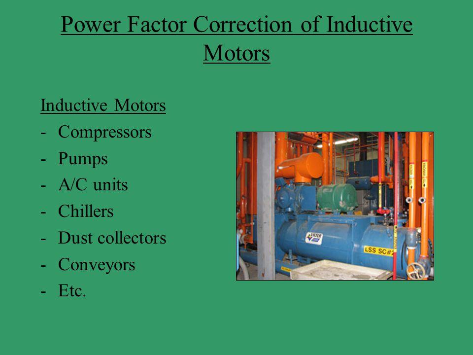 Power Factor Correction of Inductive Motors Inductive Motors -Compressors -Pumps -A/C units -Chillers -Dust collectors -Conveyors -Etc.