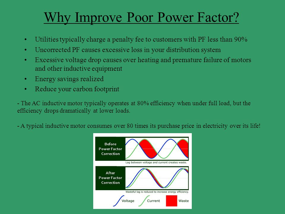 Why Improve Poor Power Factor? Utilities typically charge a penalty fee to customers with PF less than 90% Uncorrected PF causes excessive loss in you