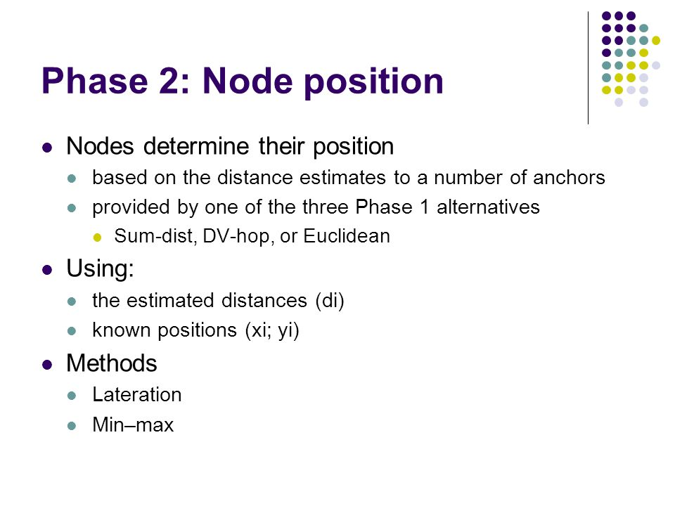 Phase 2: Node position Nodes determine their position based on the distance estimates to a number of anchors provided by one of the three Phase 1 alte