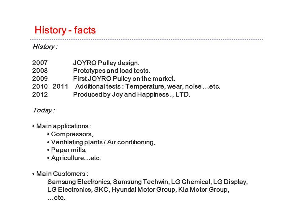 History - facts History : 2007 JOYRO Pulley design.