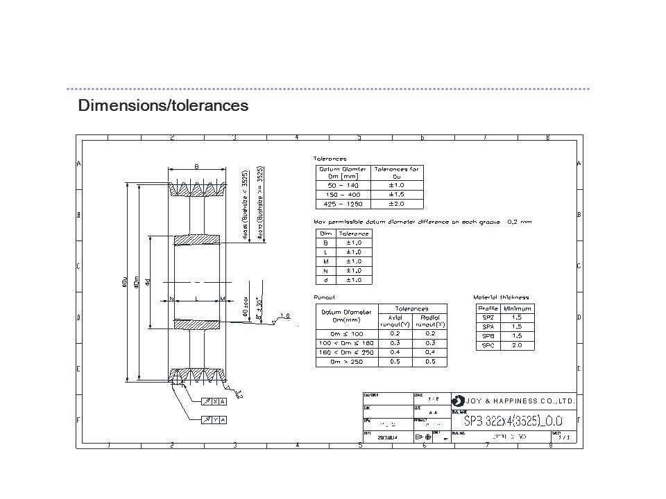 Dimensions/tolerances