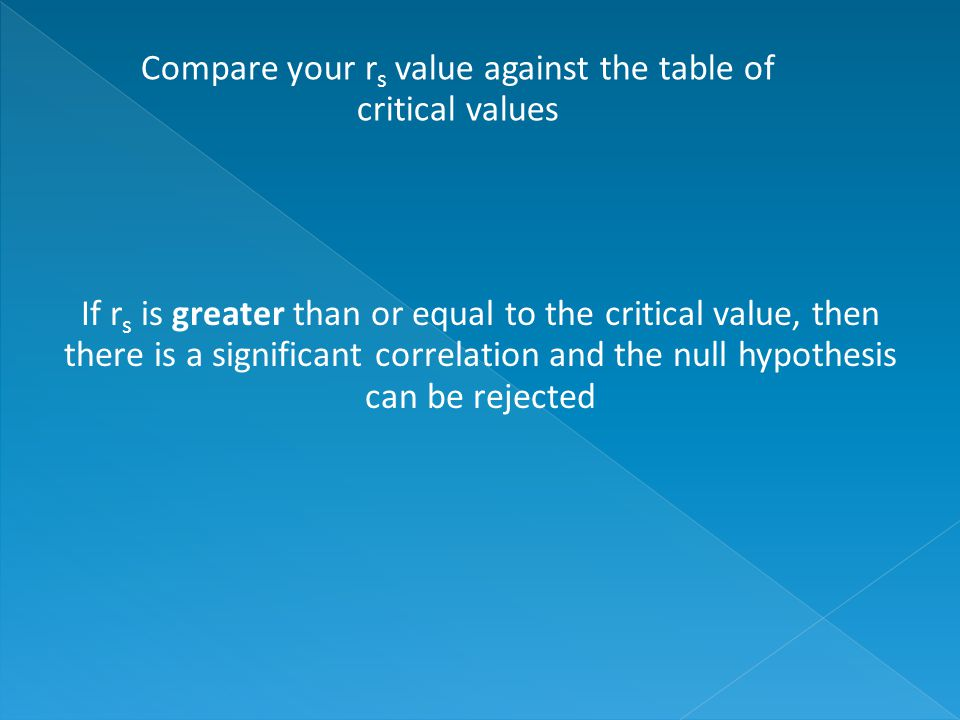 If r s is greater than or equal to the critical value, then there is a significant correlation and the null hypothesis can be rejected Compare your r s value against the table of critical values