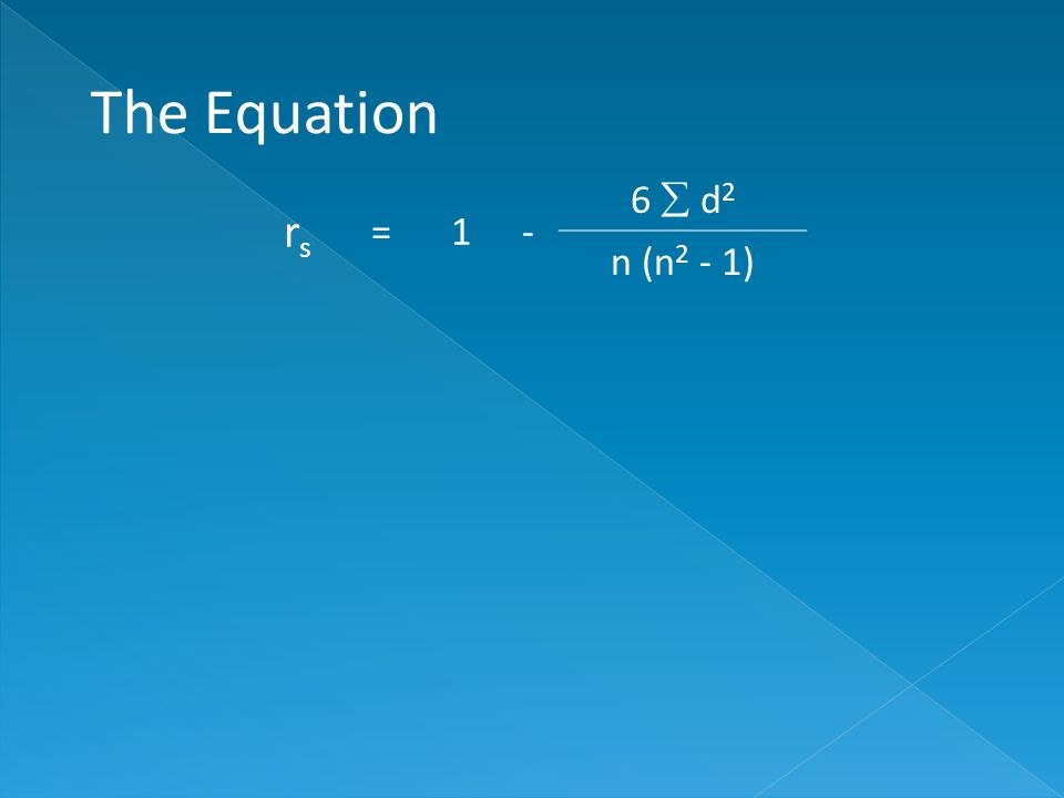 rsrs =1- 6  d 2 n (n 2 - 1) The Equation
