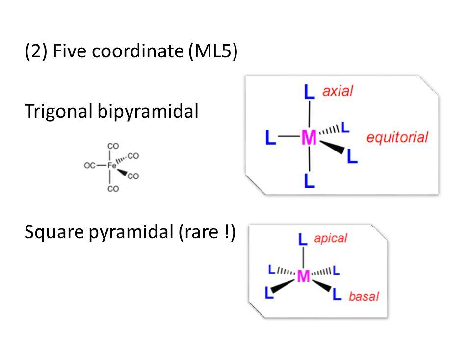 (2) Five coordinate (ML5) Trigonal bipyramidal Square pyramidal (rare !)