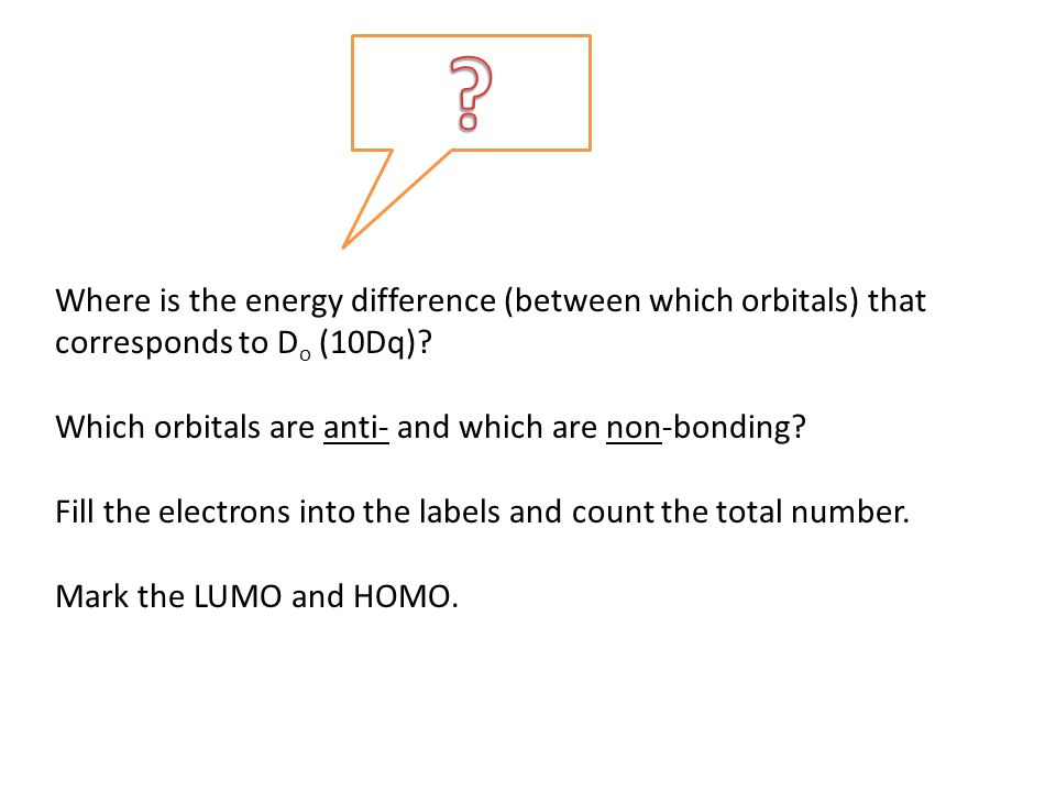 Where is the energy difference (between which orbitals) that corresponds to D o (10Dq)? Which orbitals are anti- and which are non-bonding? Fill the e