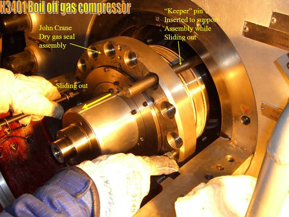 """John Crane Dry gas seal assembly """"Keeper"""" pin Inserted to support Assembly while Sliding out"""