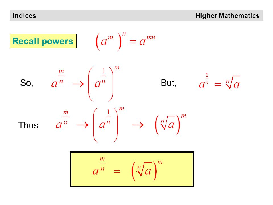 Indices Higher Mathematics Rules of Indices What can we make of it .