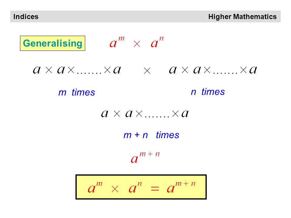 Indices Higher Mathematics 3 times 4 times 7 times