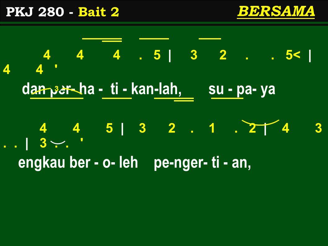4 4 4.5   3 2.. 5<   4 4 dan per- ha - ti - kan-lah, su - pa- ya 4 4 5   3 2.