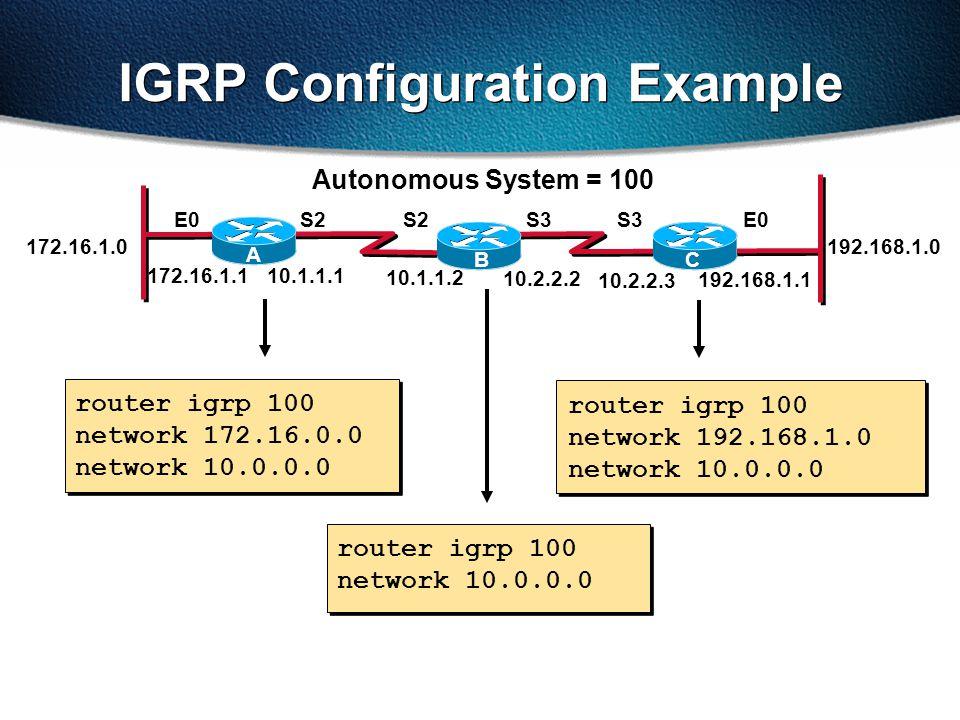 router igrp 100 network 172.16.0.0 network 10.0.0.0 IGRP Configuration Example router igrp 100 network 10.0.0.0 router igrp 100 network 192.168.1.0 network 10.0.0.0 Autonomous System = 100 172.16.1.1 S2E0S3 192.168.1.1 10.1.1.1 10.2.2.2 10.1.1.2 S2S3 10.2.2.3 172.16.1.0 A BC 192.168.1.0 E0