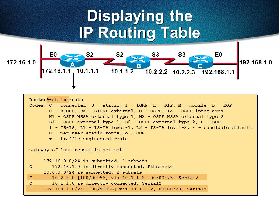 Displaying the IP Routing Table RouterA#sh ip route Codes: C - connected, S - static, I - IGRP, R - RIP, M - mobile, B - BGP D - EIGRP, EX - EIGRP external, O - OSPF, IA - OSPF inter area N1 - OSPF NSSA external type 1, N2 - OSPF NSSA external type 2 E1 - OSPF external type 1, E2 - OSPF external type 2, E - EGP i - IS-IS, L1 - IS-IS level-1, L2 - IS-IS level-2, * - candidate default U - per-user static route, o - ODR T - traffic engineered route Gateway of last resort is not set 172.16.0.0/24 is subnetted, 1 subnets C 172.16.1.0 is directly connected, Ethernet0 10.0.0.0/24 is subnetted, 2 subnets I 10.2.2.0 [100/90956] via 10.1.1.2, 00:00:23, Serial2 C 10.1.1.0 is directly connected, Serial2 I 192.168.1.0/24 [100/91056] via 10.1.1.2, 00:00:23, Serial2 172.16.1.1 S2E0S3 192.168.1.1 10.1.1.1 10.2.2.2 10.1.1.2 S2S3 10.2.2.3 172.16.1.0 A BC 192.168.1.0 E0