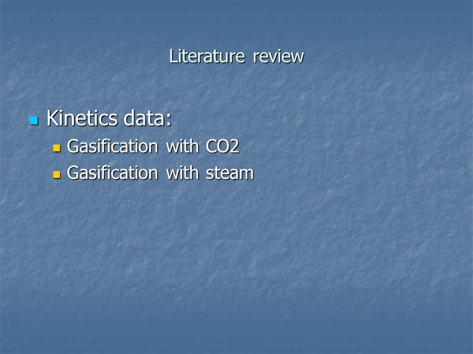 Literature review Kinetics data: Kinetics data: Gasification with CO2 Gasification with CO2 Gasification with steam Gasification with steam
