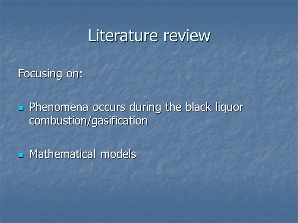 Literature review Focusing on: Phenomena occurs during the black liquor combustion/gasification Phenomena occurs during the black liquor combustion/gasification Mathematical models Mathematical models
