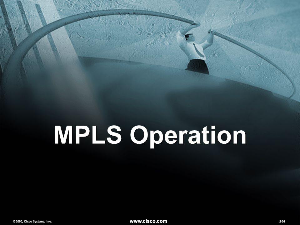 © 2000, Cisco Systems, Inc. www.cisco.com 2-26 MPLS Operation