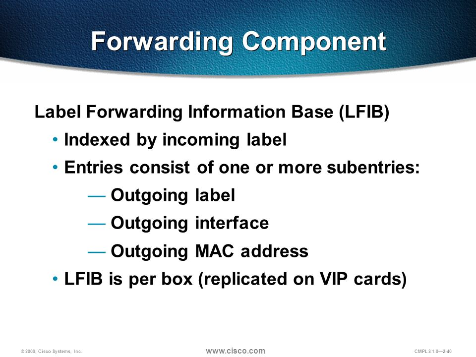 © 2000, Cisco Systems, Inc. www.cisco.com CMPLS 1.0—2-40 Forwarding Component Label Forwarding Information Base (LFIB) Indexed by incoming label Entri