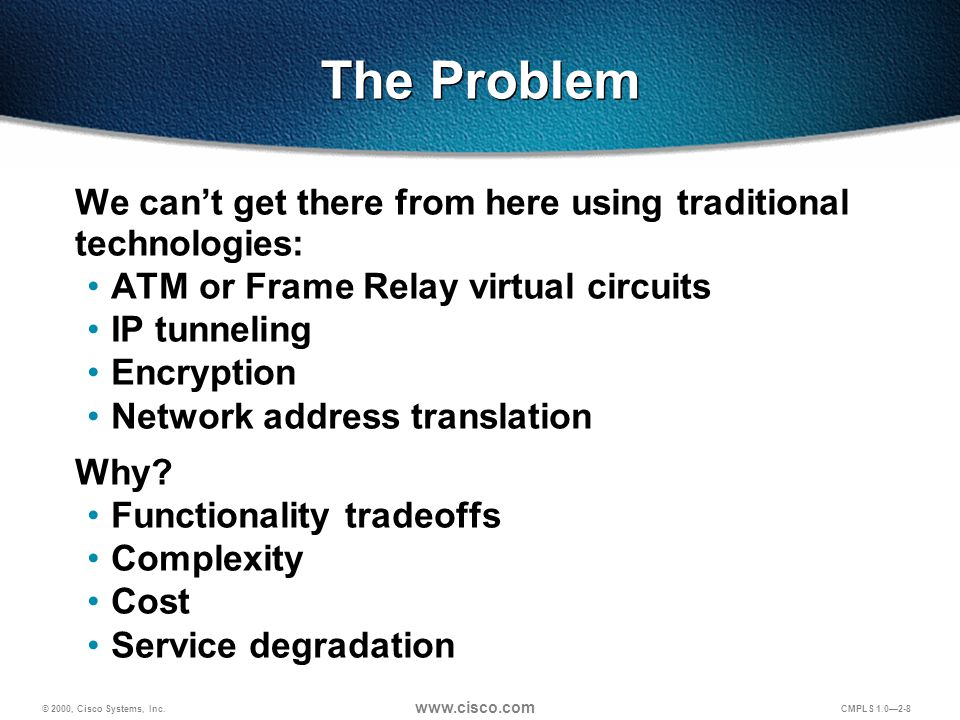 © 2000, Cisco Systems, Inc. www.cisco.com CMPLS 1.0—2-8 The Problem We can't get there from here using traditional technologies: ATM or Frame Relay vi