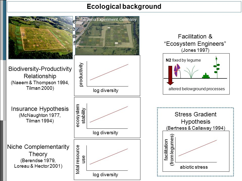 Results from large-scale grassland biodiversity experiments suggest positive relationship between biodiversity and ecosystem functioning! Ecological b