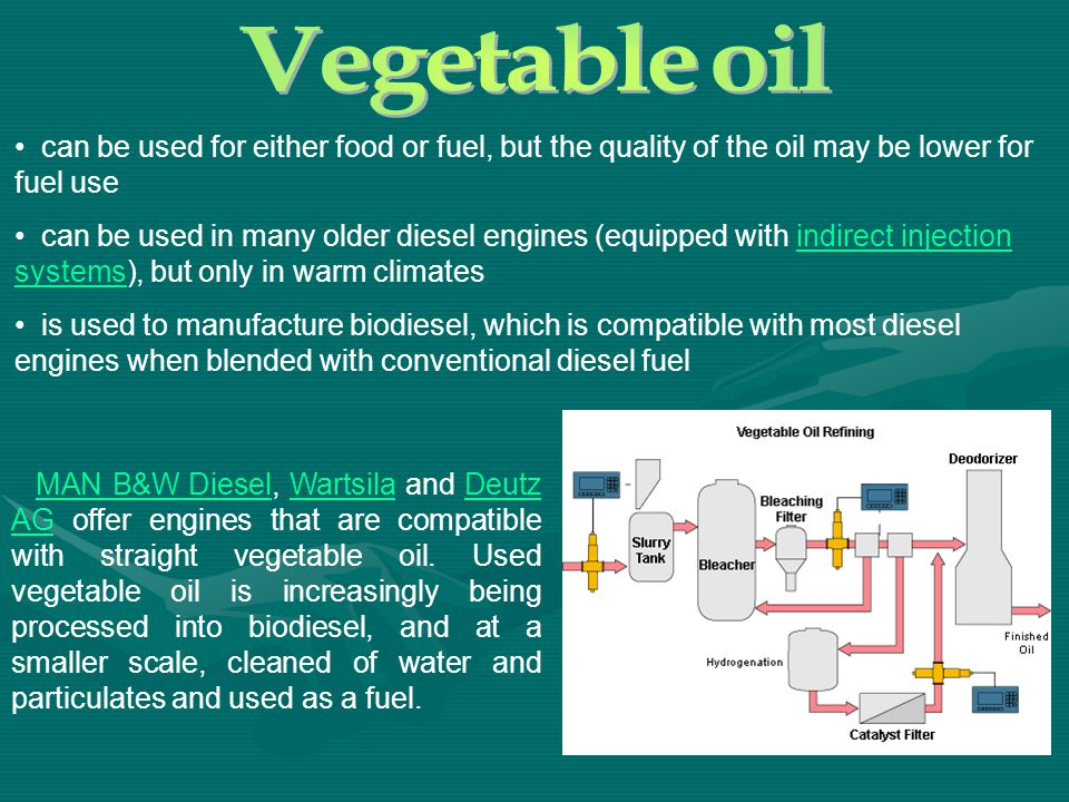 MAN B&W Diesel, Wartsila and Deutz AG offer engines that are compatible with straight vegetable oil. Used vegetable oil is increasingly being processe