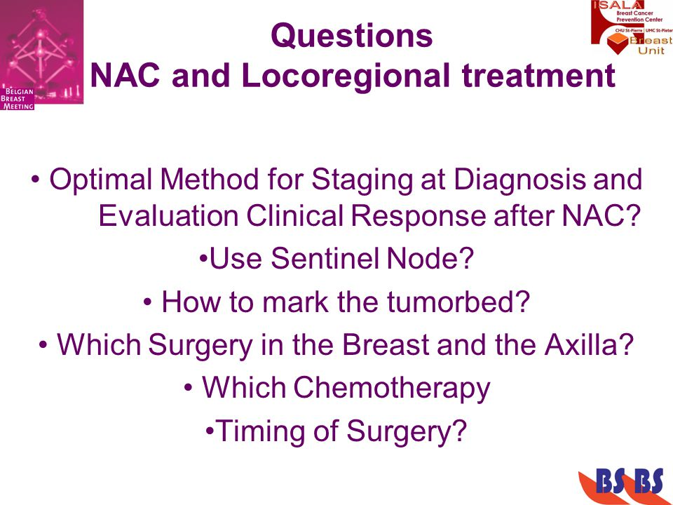Questions NAC and Locoregional treatment Optimal Method for Staging at Diagnosis and Evaluation Clinical Response after NAC.