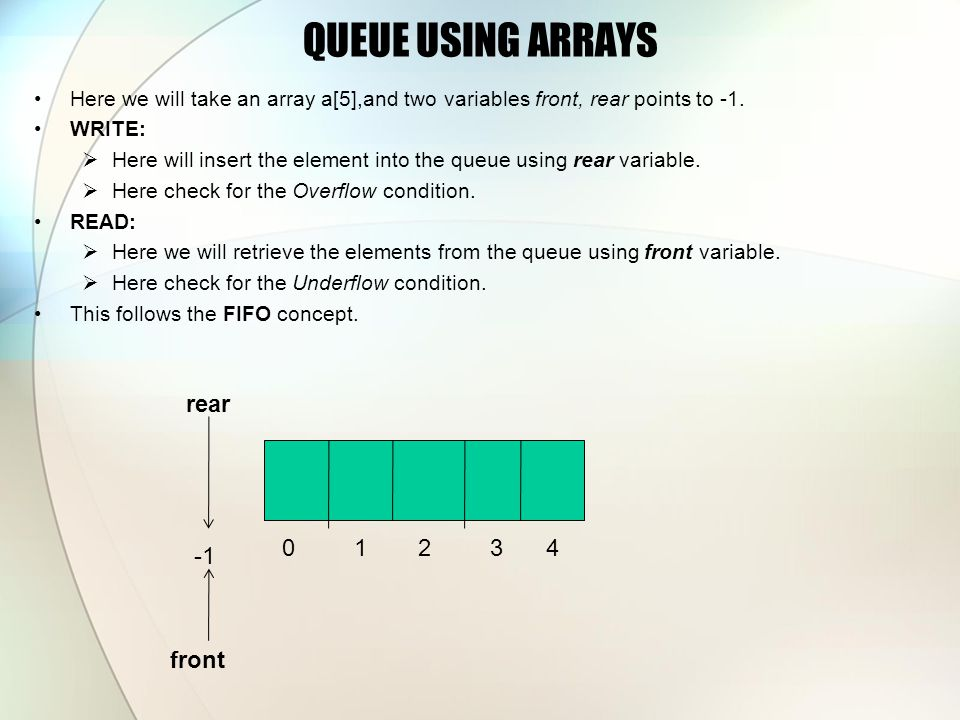 QUEUE USING ARRAYS Here we will take an array a[5],and two variables front, rear points to -1. WRITE:  Here will insert the element into the queue us
