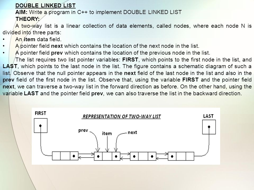 DOUBLE LINKED LIST AIM: Write a program in C++ to implement DOUBLE LINKED LIST THEORY: A two-way list is a linear collection of data elements, called
