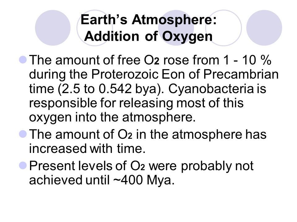 Earth's Atmosphere: Addition of Oxygen The amount of free O 2 rose from 1 - 10 % during the Proterozoic Eon of Precambrian time (2.5 to 0.542 bya).