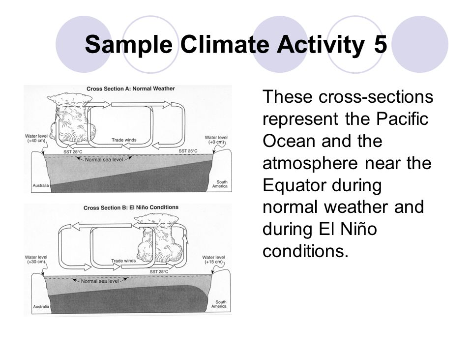 Sample Climate Activity 5 These cross-sections represent the Pacific Ocean and the atmosphere near the Equator during normal weather and during El Niñ