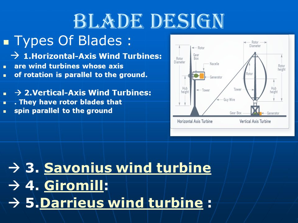 blade design Types Of Blades :  1.Horizontal-Axis Wind Turbines: are wind turbines whose axis of rotation is parallel to the ground.  2.Vertical-Axi