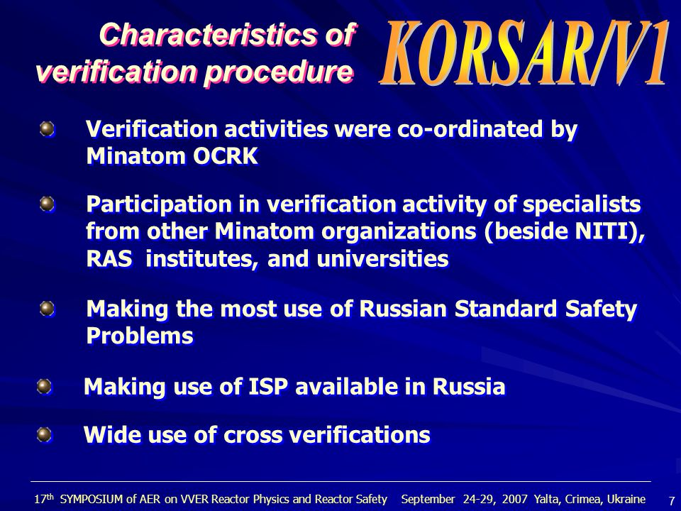  The KORSAR system code is a new generation software tool designed for computer-based analysis of VVER dynamics.