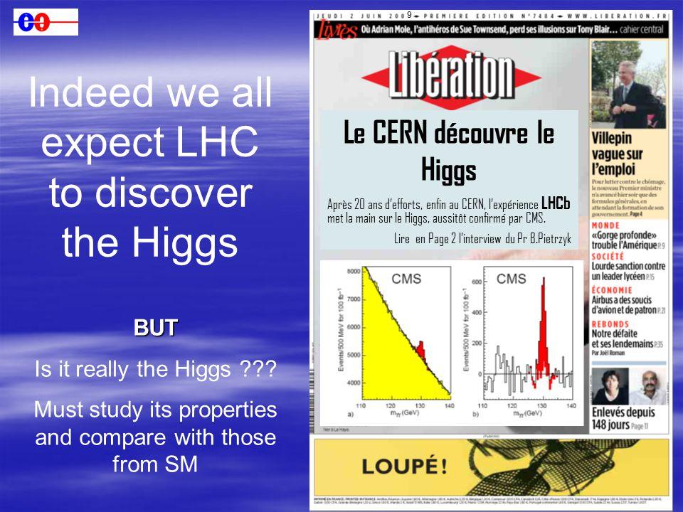 5 Le CERN découvre le Higgs Après 20 ans d'efforts, enfin au CERN, l'expérience LHCb met la main sur le Higgs, aussitôt confirmé par CMS. Lire en Page