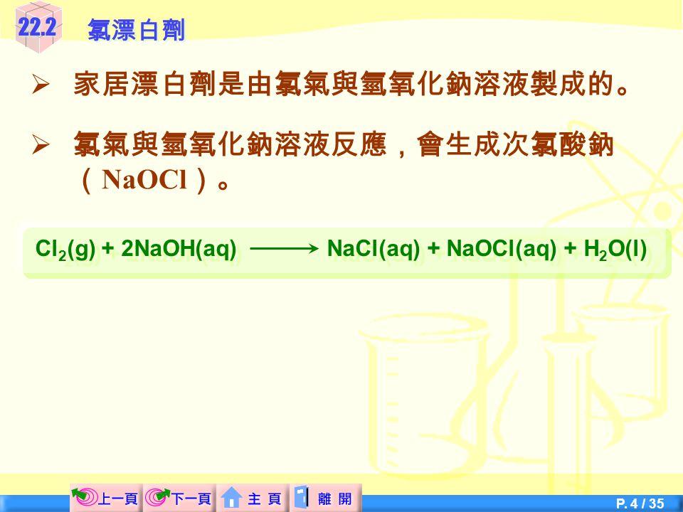 P. 14 / 35  汞電解池 圖 22.6 汞電解池 22.4從電解濃鹽水製造氯