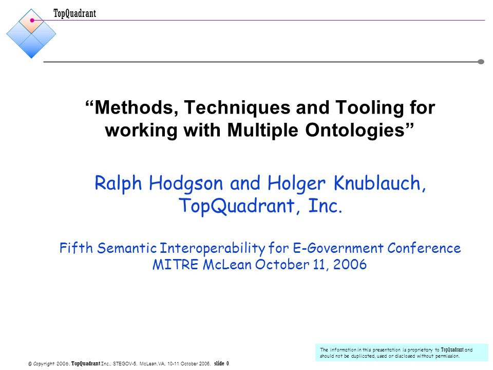 TopQuadrant © Copyright 2006 TopQuadrant Inc., STEGOV5, slide 11 NExIOM Ontology Architecture for C3I  Modular Architecture  Reusable Models supported by Semantic Registries  Different degrees of specificity  n1, n2, n3 … models