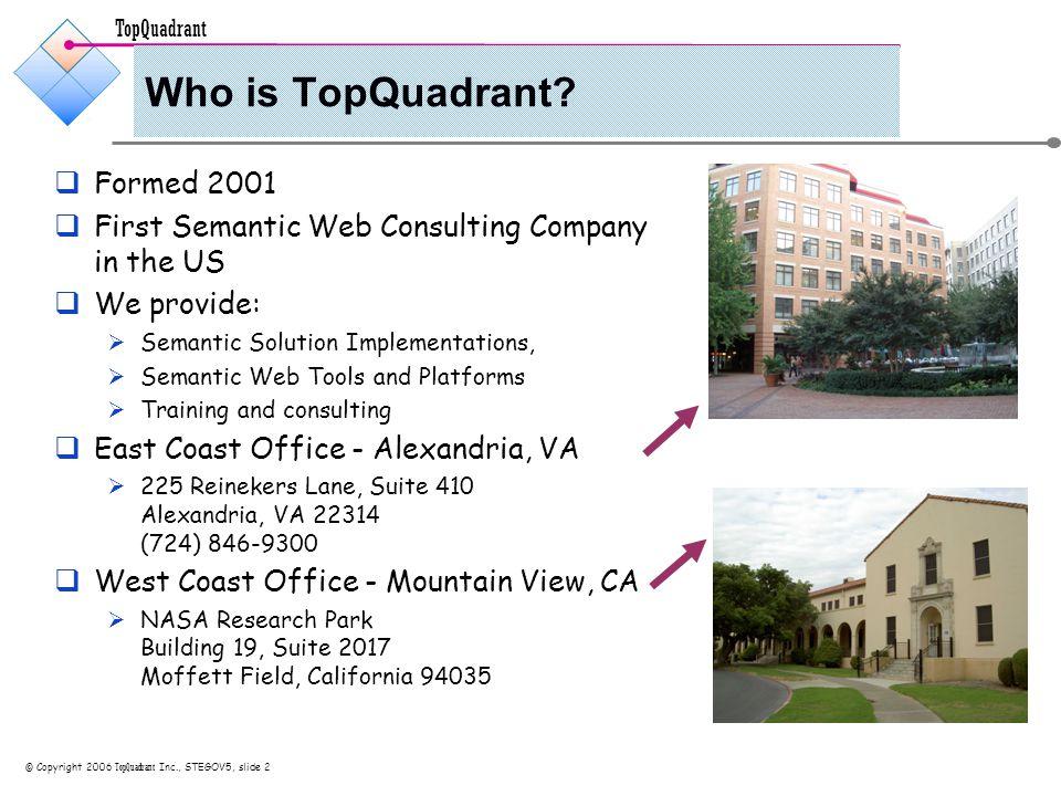 TopQuadrant © Copyright 2006 TopQuadrant Inc., STEGOV5, slide 2 Who is TopQuadrant.
