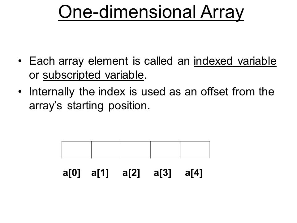One-dimensional Array Each array element is called an indexed variable or subscripted variable.
