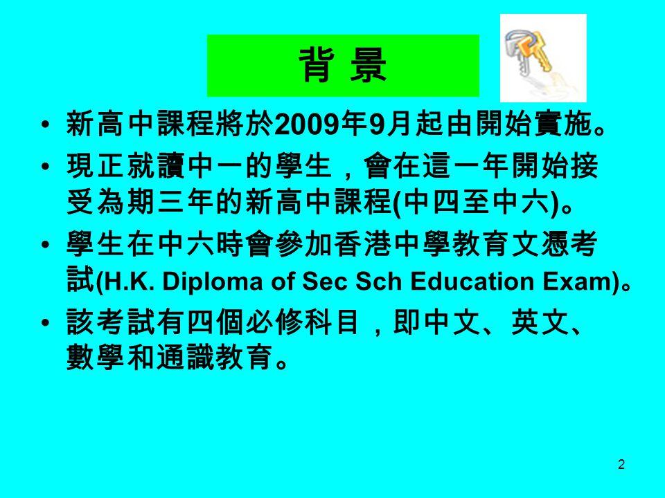 2 背 景 新高中課程將於 2009 年 9 月起由開始實施。 現正就讀中一的學生,會在這一年開始接 受為期三年的新高中課程 ( 中四至中六 ) 。 學生在中六時會參加香港中學教育文憑考 試 (H.K. Diploma of Sec Sch Education Exam) 。 該考試有四個必修科目,