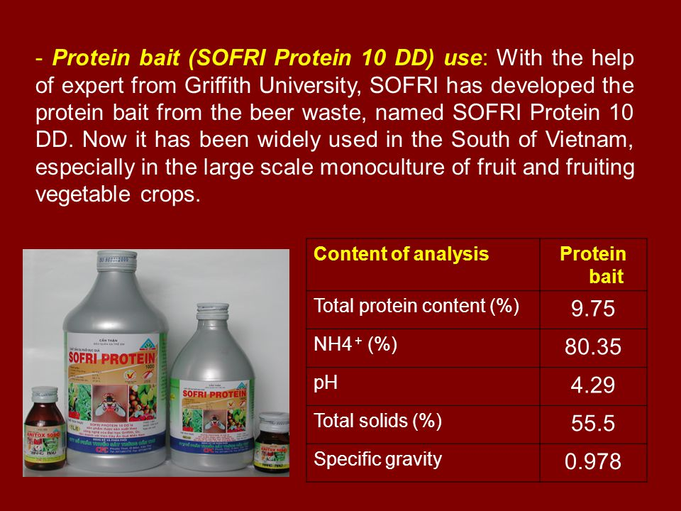 - Protein bait (SOFRI Protein 10 DD) use: With the help of expert from Griffith University, SOFRI has developed the protein bait from the beer waste,