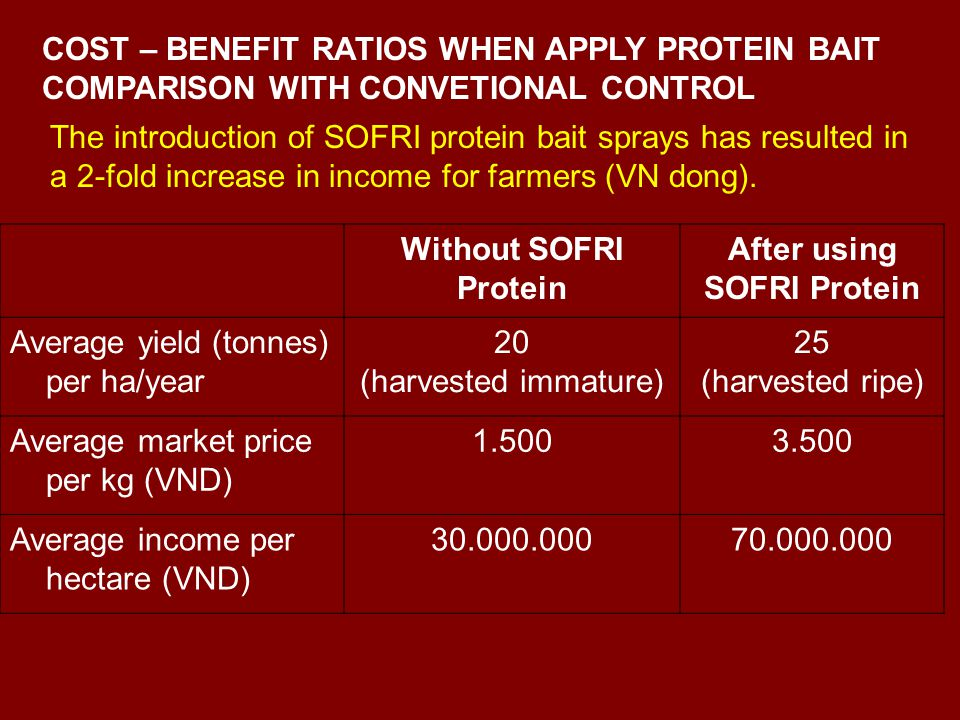 Without SOFRI Protein After using SOFRI Protein Average yield (tonnes) per ha/year 20 (harvested immature) 25 (harvested ripe) Average market price per kg (VND) Average income per hectare (VND) The introduction of SOFRI protein bait sprays has resulted in a 2-fold increase in income for farmers (VN dong).