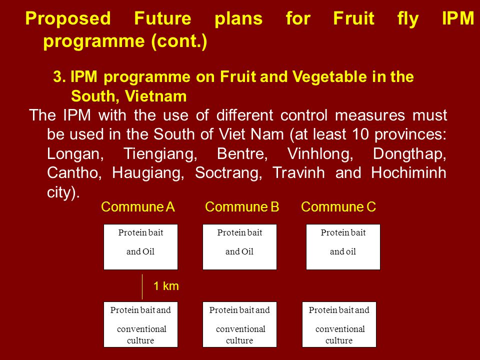 Proposed Future plans for Fruit fly IPM programme (cont.) 3. IPM programme on Fruit and Vegetable in the South, Vietnam The IPM with the use of differ
