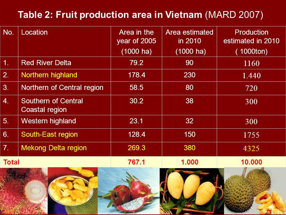 No.LocationArea in the year of 2005 (1000 ha) Area estimated in 2010 (1000 ha) Production estimated in 2010 ( 1000ton) 1.Red River Delta79.290 1160 2.Northern highland178.4230 1.440 3.Northern of Central region58.580 720 4.Southern of Central Coastal region 30.238 300 5.Western highland23.132 300 6.South-East region128.4150 1755 7.Mekong Delta region269.3380 4325 Total767.11.00010.000 Table 2: Fruit production area in Vietnam (MARD 2007)