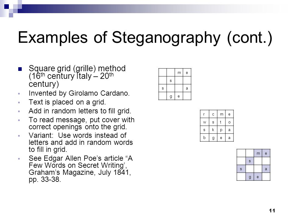 11 Examples of Steganography (cont.) Square grid (grille) method (16 th century Italy – 20 th century)  Invented by Girolamo Cardano.