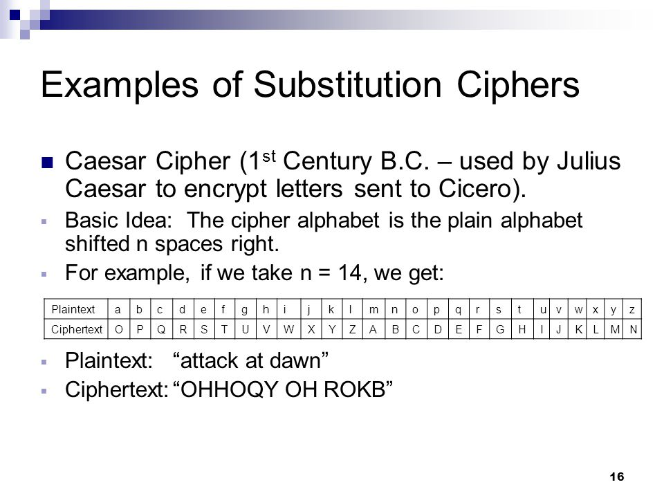 16 Examples of Substitution Ciphers Caesar Cipher (1 st Century B.C.