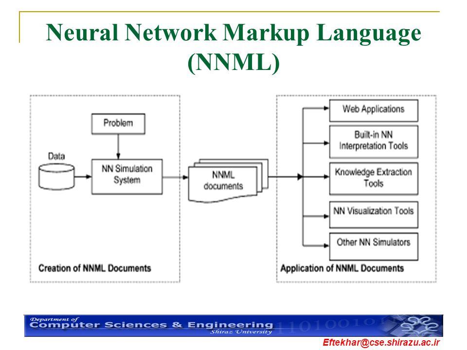 Eftekhar@cse.shirazu.ac.ir Neural Network Markup Language (NNML)