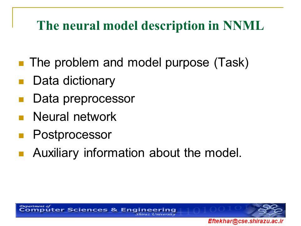 Eftekhar@cse.shirazu.ac.ir The neural model description in NNML The problem and model purpose (Task) Data dictionary Data preprocessor Neural network